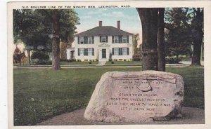 Massachusetts Lexington Old Boulder Line Of The Minute Men