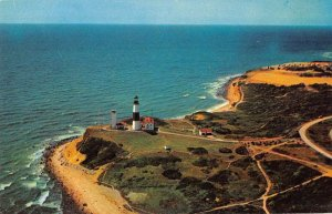 Montauk L.I. New York aerial view Montauk Point Lighthouse vintage pc ZE686270