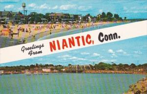 Connecticut Greetings From NIantic Showing Crescent Beach Niantic Bay & R...