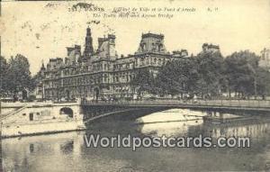 Paris, France, Carte, Postcard L'Hotel de Ville et le Pont d'Arcole  L'Hotel ...