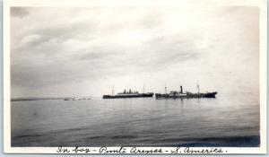 Vintage A. NIELEN Snapshot / Photo Punta Arena Chile Ships in Bay Stamp on Back