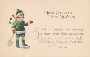 Merry Christmas Greetings and Happy New Year - Child with Shovel - DB