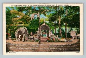 Orkney Springs VA, Cathedral, Shrine Of Transfiguration Virginia Linen Postcard