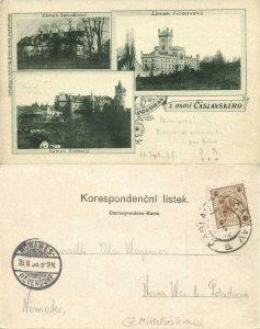 czech, OKOLÍ ČÁSLAVSKÉHO, Zámek Zehušický, Filipovský and Žlebský 1898 Postcard