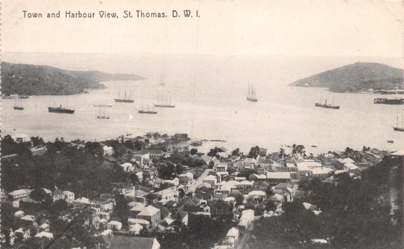 ST THOMAS DANISH WEST INDIES~TOWN & HARBOUR VIEW~LIGHTBOURNS PHOTO POSTCARD 1910