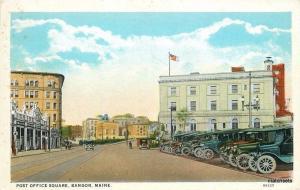 1920s Post Office Square autos Bangor Maine Teich postcard 171