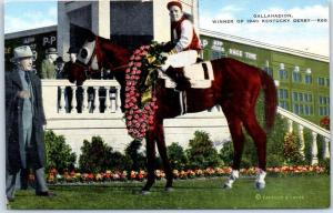 1940 KENTUCKY DERBY Horse Racing Postcard GALLAHADION Winners Circle KROPP Linen