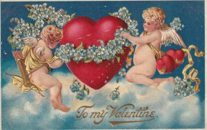 To My Valentine, Two Cherubs Decorating A Heart With Blue Flowers, PU-1912