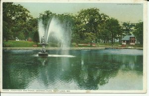 Fountain And Pond, Deering Park, Portland, Maine