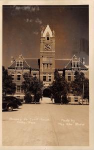 Colby Kansas~Thomas County Court House~Clock Tower~1940s Cars~RPPC