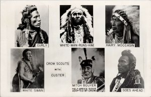 Native American Crow Scouts with Custer Crow Agency MT Postcard F88