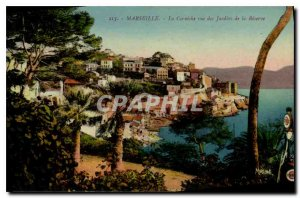 Old Postcard Marseille La Corniche view of the Gardens of the Reserve