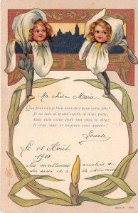 Lot169 greetings postcard girls in flower france surrealism flowerhead