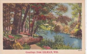 Wisconsin Greetings From Gilman 1956