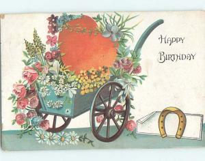 Pre-Linen COLORFUL FLOWERS IN ANTIQUE WHEELBARROW FOR BIRTHDAY HJ4586