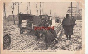 FRANCE 1914-15 Guerre WWI - Armee Belge, Arrivee des caisses de Noel, trucks