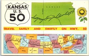 Kansas Postcard Travel Safely & Swiftly on Highway 50 State Map Linen UNUSED