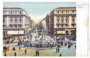 Italy Napoli Corso Umberto I Fountain Vintage Postcard