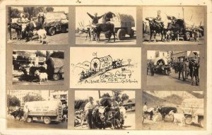 RPPC Orville Ewing Pritchett, CO Covered Wagon Multiview 1939 Vintage Postcard