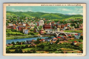 Fairmont WV Bird's Eye View Monongahela River Linen West Virginia c1938 Postcard