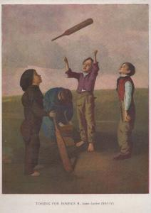 Tossing For Innings Victorian Children Marleybone Cricket Club Painting Postcard