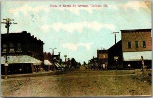 TOLUCA,, Illinois Postcard View of Santa Fe Avenue Downtown Street Scene 1912