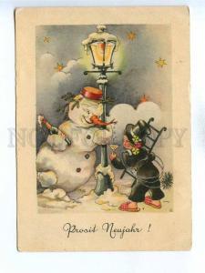 195903 GERMANY Snowman & Chimney Sweep Vintage postcard