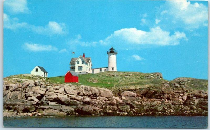 York Beach, Maine Postcard NUBBLE LIGHTHOUSE Light House Chrome c1950s Unused