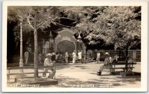 São Vicente, Brazil RPPC Real Photo Postcard A BIQUINHA Park Scene c1940s