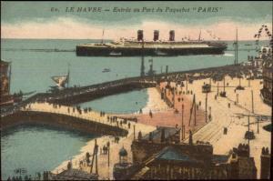 Havre France - Steamship Paquebot Paris c1915 Postcard