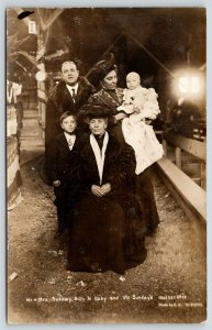 Bloomington IL~Mr Mrs Billy Sunday~Mother~Jr & Baby~Tabernacle~CU Williams RPPC