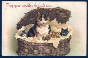 May your Troubles be Little 4 Cats in a Basket used c1905