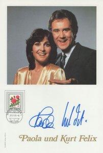 Paola Und Kurt Felix Swiss TV Presenter Large Hand Signed Photo