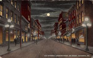 Altoona Pennsylvania~11th Avenue Looking West at Night~Full Moon~Dog~Bijou~1917