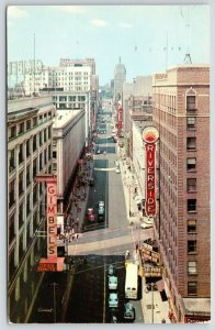 Milwaukee WI~Wisconsin Avenue~Gimbels Department Store~Riverside Theatre~1958