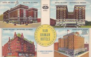 Van Orman Hotels Indiana and Illinois Curteich