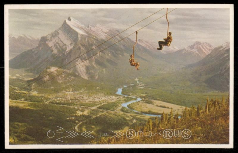 Mt. Rundle and Banff from Chair Lift on Mt. Norquay