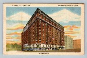 St Louis MO, Hotel Jefferson, Vintage Missouri c1952 Postcard