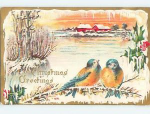 Pre-Linen christmas BEAUTIFUL BLUE AND YELLOW BIRDS ON FROZEN BRANCH HL0384