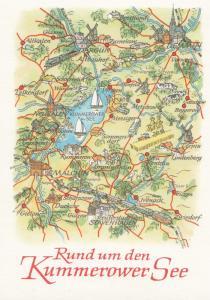 Lake Kummerow See Sea Germany Germany Karte Boat Ship Map Postcard