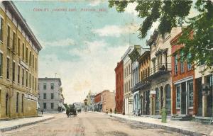 Portage Wisconsin~Cook Street~Cigar Store & Billard Hall~Stores~1909 Postcard