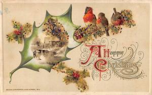 Christmas Post Card Glitter on Card, John Winsch Publisher Writing on back