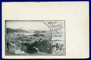 Lubec Maine me West Quoddy Light lighthouse 1905 old postcard