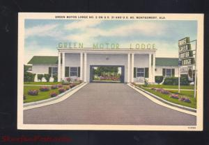 MONTGOMERY ALABAMA GREET MOTOR LODGE VINTAGE LINEN ADVERTISING POSTCARD