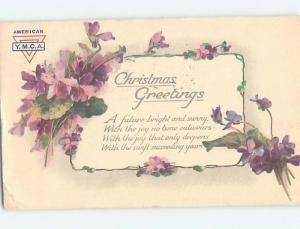 Pre-Linen christmas tuck AMERICAN YMCA LOGO ON POSTCARD - VIOLET FLOWERS HQ6556
