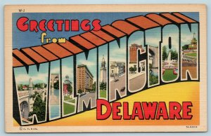 Postcard DE Large Letter Greetings From Wilmington Delaware c1940s AG8