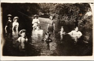 Portrait of People in Water Children Women Man Real Photo Postcard G15