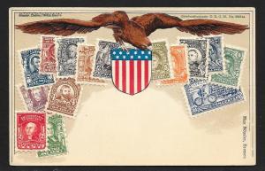 UNITED STATES Stamps on Postcard Embossed Shield Eagle Unused c1905