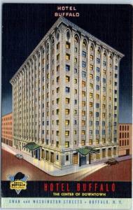 Buffalo, New York Postcard HOTEL BUFFALO Colorful Curteich Linen c1940s Unused
