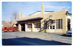 Monticello NY Vintage Fire Truck Police Car Station Old Postcard
